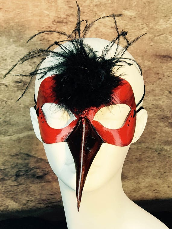 Scarlet Bird Leather Mask
