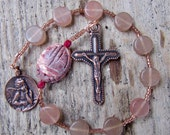 Pocket Rosary from glass and Leopard Jasper catholic, copper