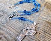 Car Rosary from blue Czech glass