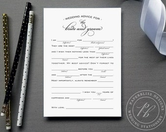 Wedding Mad Libs Printable, Wedding advice cards, Wedding game printable, Marriage advice cards, black and white guestlib, calligraphy
