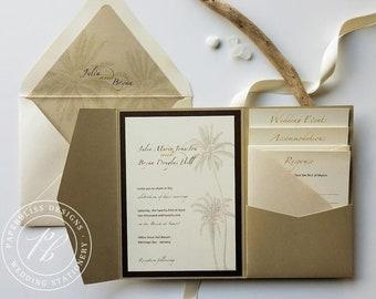 Beach Wedding Invitation SAMPLE SET - Gold Pocket Invitation, Palm Tree tropical destination wedding, Hawaii, Mexico, Caribbean weddings