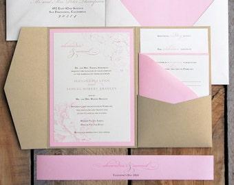 Pink and gold pocket wedding invitations SAMPLE SET | Blush pink peony pocket invitation | Pocketfold wedding invitation suite BPW004-S