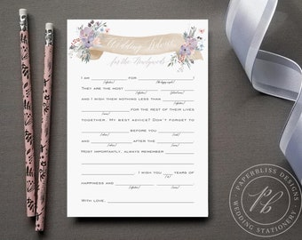 Wedding Mad Libs printable, Dusty purple floral Mad libs wedding advice cards, printable wedding madlibs, Wedding guest book alternative