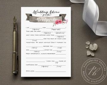 Pink and Black Wedding Mad Lib Guestbook Alternative, Wedding advice card PDF download, Bride and Groom wedding madlib, wedding comment card