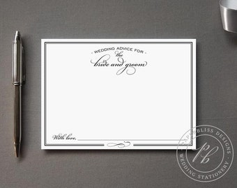 Wedding advice card PDF download, Bride and Groom wedding words of wisdom, black and white classic comment card, guest book alternative