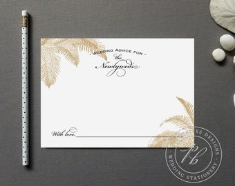 Beach Wedding Advice Cards Printable, Palm Tree Wedding Guest Book, Wedding Advice for the Bride and Groom Words of Wisdom for the Newlyweds