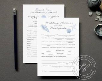 Beach Wedding Guestbook Alternative, Nautical Wedding Mad Libs Printable, Blue Wedding Guest Book, Starfish Sea Shell Printable Advice Cards