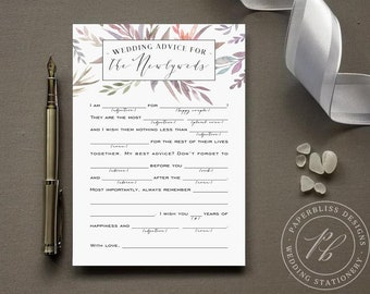 Wedding Advice for the Newlyweds Mad Lib Game, Purple Wedding advice card PDF download, madlib Violet comment card, Ultraviolet lavender