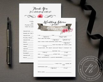 Wedding Mad Lib Guestbook Alternative, Wedding advice card PDF download, Bride and Groom wedding madlib, pink and black wedding comment card