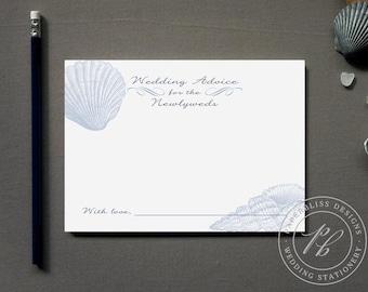 Nautical Wedding Advice Cards Printable, Beach Wedding Guest Book, Sea shell Wedding Advice cards, Starfish Words of Wisdom for Newlyweds