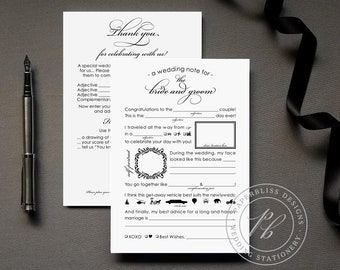Wedding Madlib Instant Download Printable PDF file, Graphic Wedding Mad libs Printable - Unique Guestbook Alternative, Wedding Guestlibs