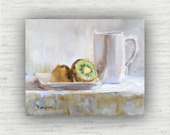 Kiwi Painting Print of Still life Oil Painting Home Decor Wall Art, Unique Kitchen Food Room Decor, Shabby Chic Dining Room Art Print