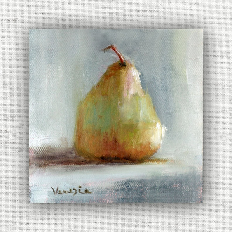 Pear Still Life Rustic Country Painting Print Minimalist image 0
