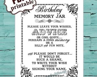 INSTANT DOWNLOAD 8 X 10 Birthday Memory Wish Jar Printable PDF File