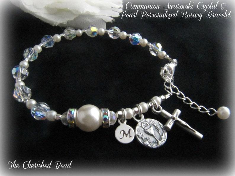 c1e140811d1b Pulsera rosario personalizado comunión cristal de Swarovski