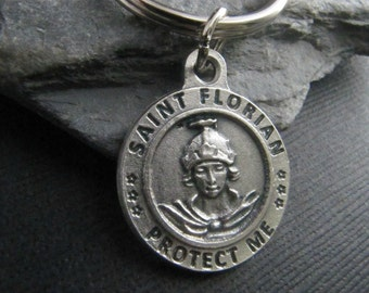 Saint Florian Firefighter Keychain - Reverisble - Protection Saint for Firefighters