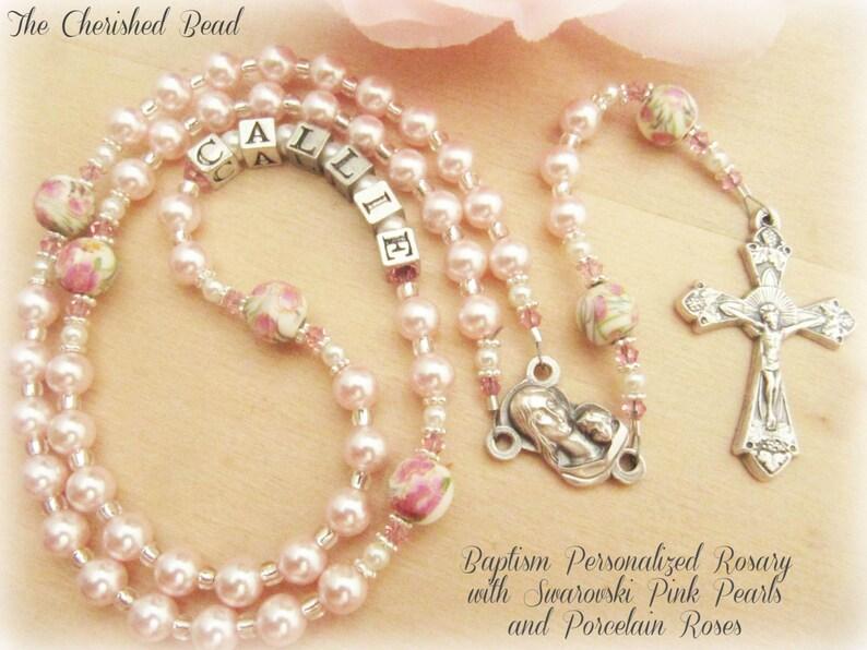 89e2451f87c Niña personalizado bautismo Rosario con perlas de color rosa