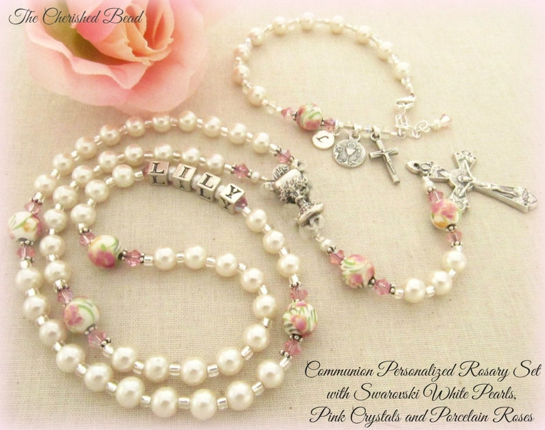 7f0fc059007d Communion Personalized Rosary Set with White Swarovski Pearls