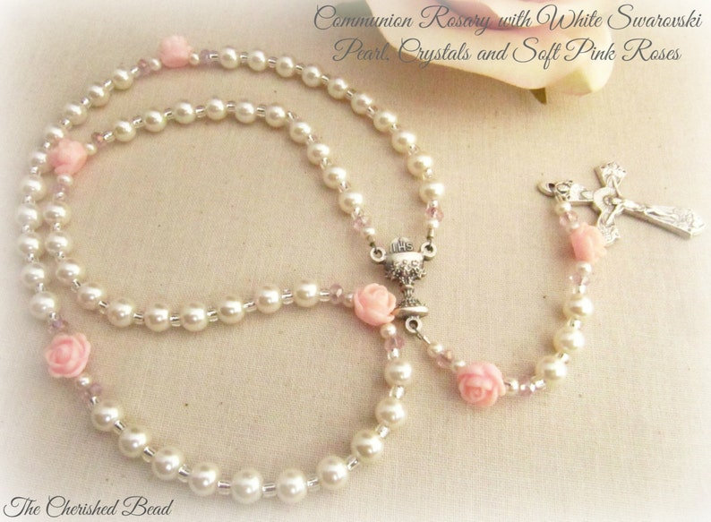 1979991121f Hermosa primera comunión personalizado Rosario con perlas de