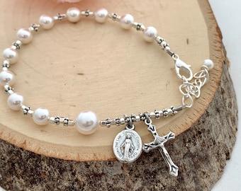 Catholic Rosary Bracelet with White Swarovski Pearl and  Silver