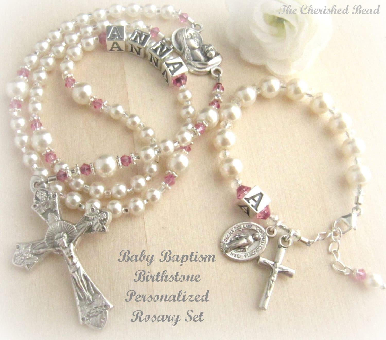 Catholic Baby Girl Baptism Personalized Small Birthstone ...