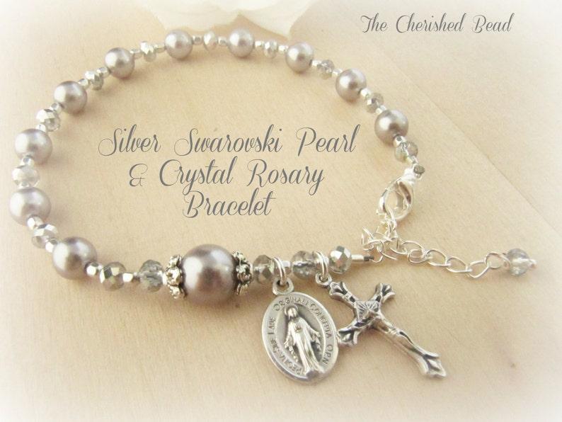f9797ffeae3 Hermosa perla de Swarovski plata y pulsera rosario de cristal