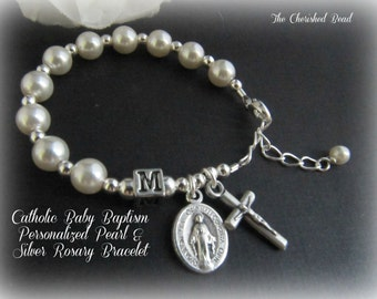 Personalized Baby Baptism Pearl & Sterling Silver Rosary Bracelet - for girl or boy