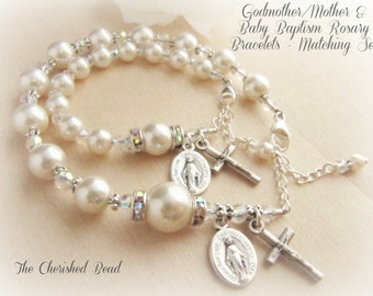 Matching Set of Catholic Baby/Godmother/Mother Baptism Pearl and Crystal Rosary Bracelets