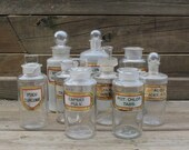 Reserved for Justin Taylor - 13 Antique Apothecary Bottles from England