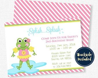 Frog invitations etsy splash party invitation pool party invitation frog birthday invitation water party invitation birthday bash filmwisefo