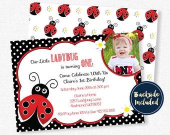 Ladybug first birthday invitations etsy ladybug invitation ladybug first birthday invitation ladybug party invitation girl birthday invitation red and black filmwisefo
