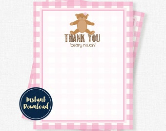 Teddy Bear Thank You Cards, Bear Thank You Notes, Birthday Thank You, Pink Gingham Thank You Cards, Printable INSTANT DOWNLOAD