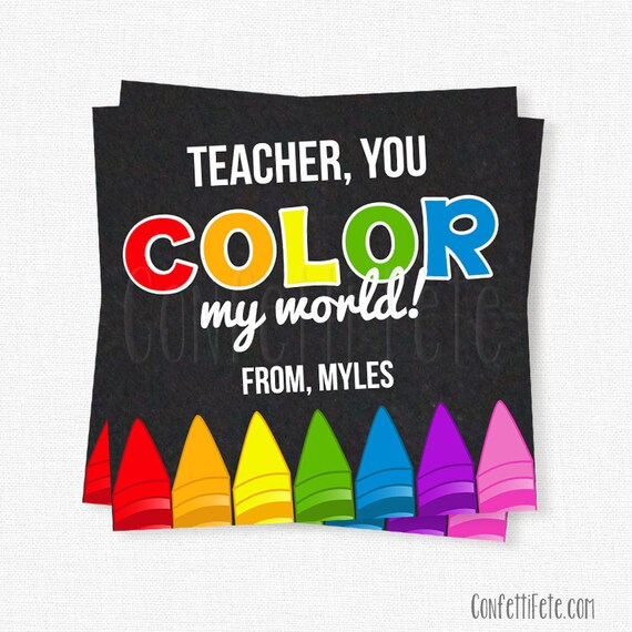 photo relating to You Color My World Printable titled Your self Shade My World-wide Tag, Instructor Present Tags, Crayons Present Tag