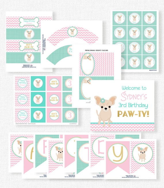 Puppy Party Printables Chihuahua Birthday Dog Decorations Printable Package