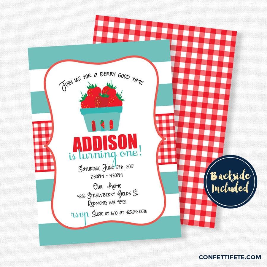 Strawberry Birthday Invitation Summer Birthday Invitation   Etsy