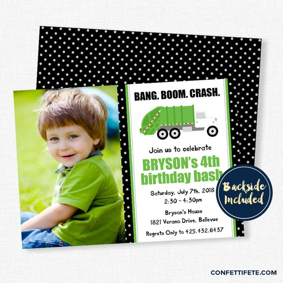 Garbage Truck Invitation Trash Bash Party