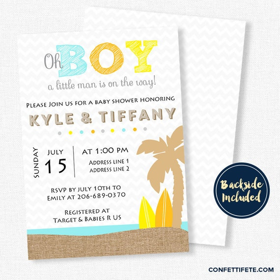 Surf Baby Shower Invitation Beach Little