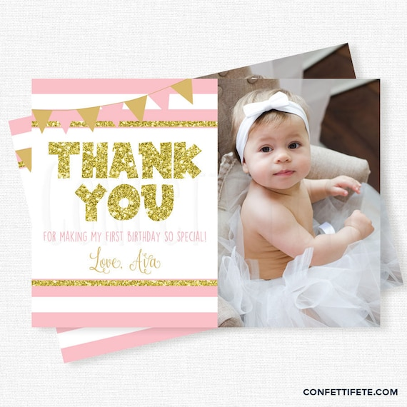 Pink And Gold Thank You First Birthday Thank You Card Photo Etsy