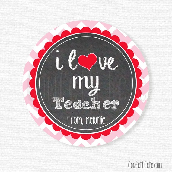 Teacher Gift Tags Love My Teacher Tag Valentine S Day Tags