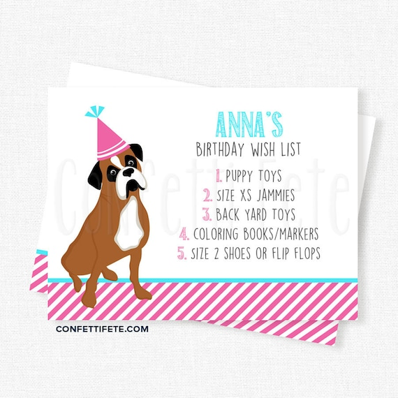 Puppy Dog Birthday Wish List Inserts Gift Cards Invitation Boxer Printable