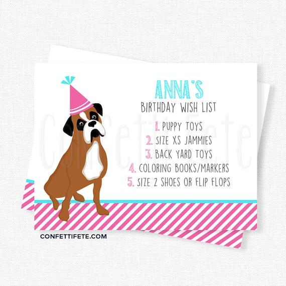 Puppy Dog Birthday Wish List Inserts Birthday Gift List Etsy
