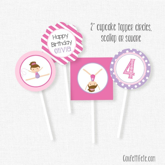 Gymnastics Cupcake Toppers Party Decorations Printable