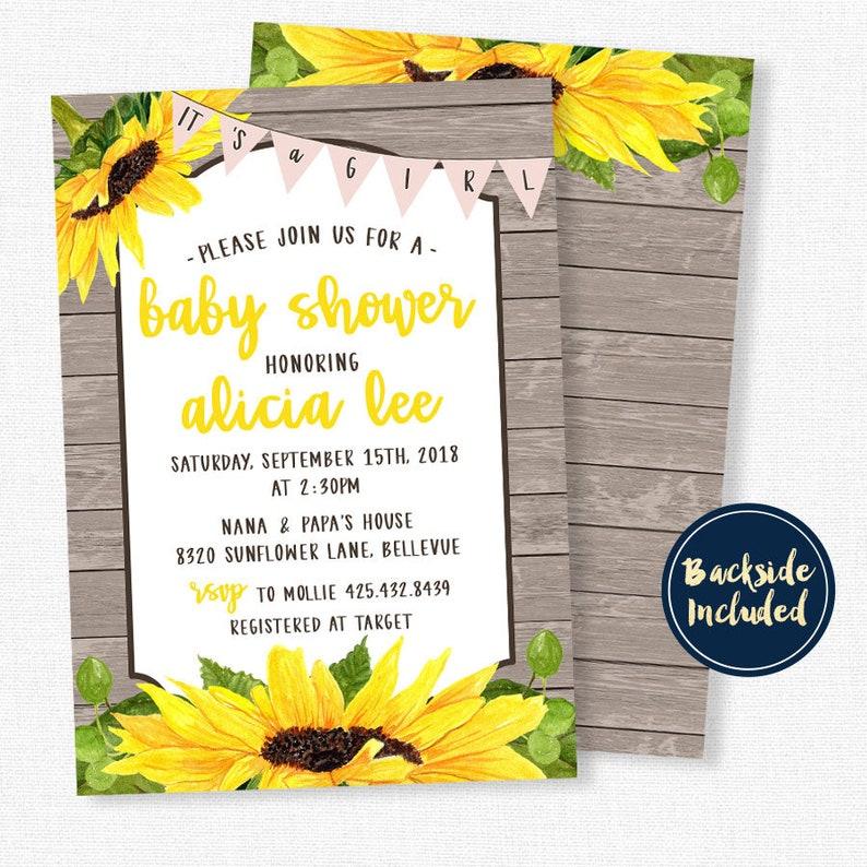 Sunflower Baby Shower Invitation Girl Baby Shower Invitation Etsy