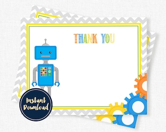 Robot Thank You Card, Robots Thank You Note, Printable A2 Flat Thank You INSTANT DOWNLOAD