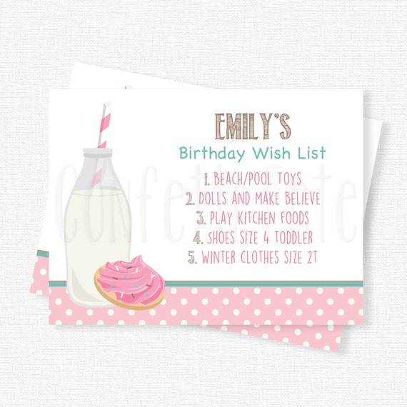 Milk And Cookies Birthday Wish List Inserts Gift Cards Invitation Cookie Printable