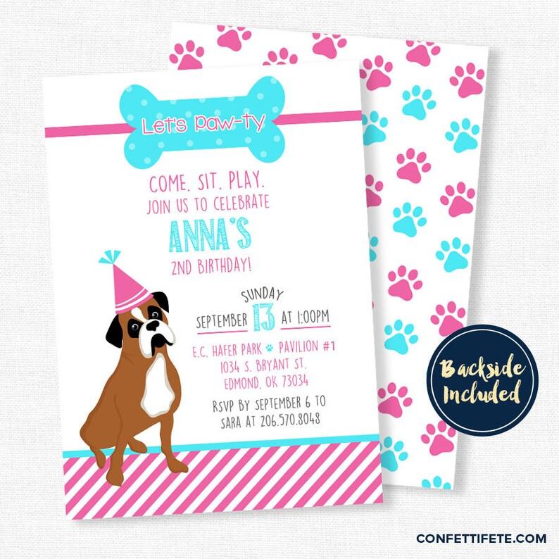 Puppy Birthday Invitation Dog Boxer