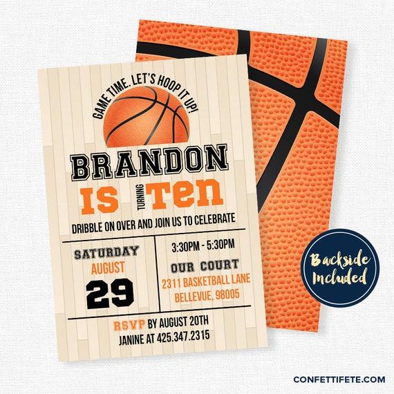 basketball birthday invitation basketball party invitations etsy