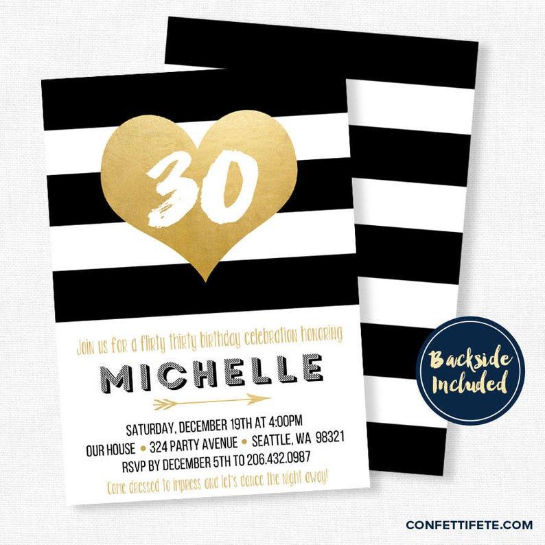 Black And Gold Invitations Dirty Thirty Invitation 30th Etsy