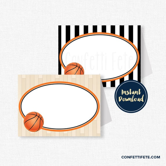 Basketball Buffet Labels Party Place Cards Birthday Decorations Table Food Printable INSTANT DOWNLOAD