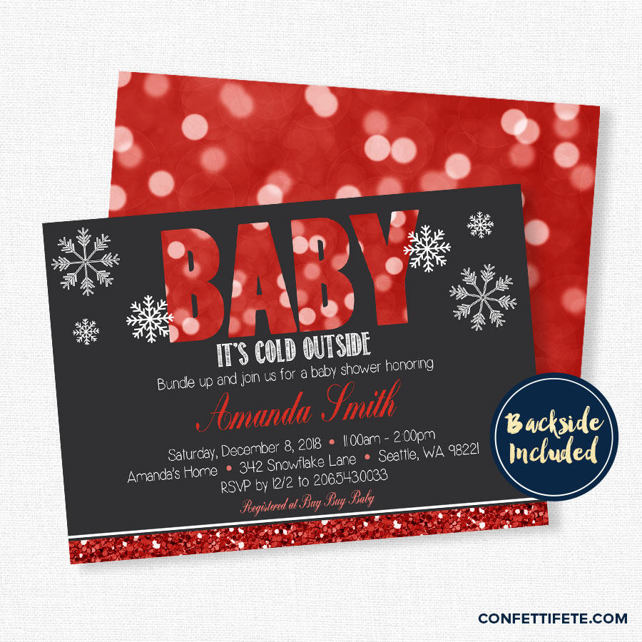 Baby It's Cold Outside Baby Shower Invitation Winter Baby   Etsy